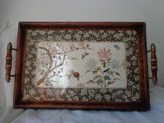 Rectangular wooden tray ceramic Chinoiserie hand-coloured transfer print, possibly Sarreguemines - France - ca. 1920