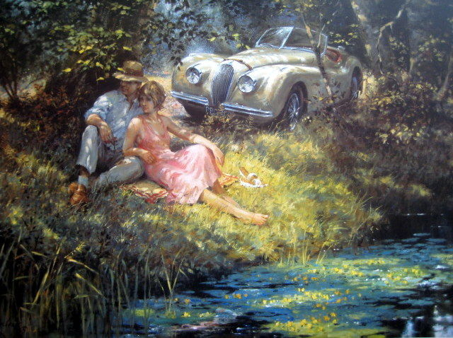 "Impresión de bellas artes - ""Summer of 1952"" - A Beautiful Companion. Jaguar XK120 : Artist Alan Fearnley 1993"
