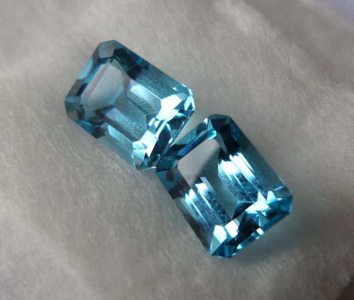 Blue Topazes Matching Pair – 5.70 ct – No Reserve Price