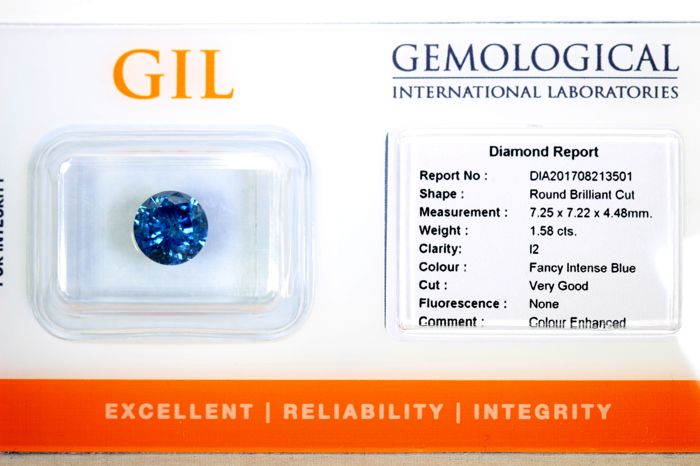 Intense Blue Diamond - 1.58 ct