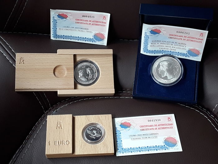 Spain – Euros – 1997, 1998 and 2004 (3 coins)
