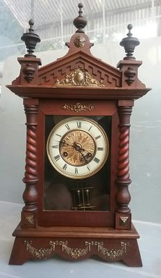Large, wooden antique desk clock - France, Late XIX Century