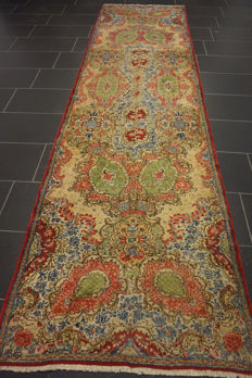 Exclusive hand-knotted Persian Palace carpet old flowers Laver Kerman runner 100 x 360cm Tapiz Tappeto carpet