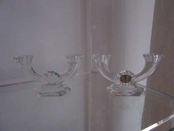 Val St Lambert - Pair of Crystal Candle Holders