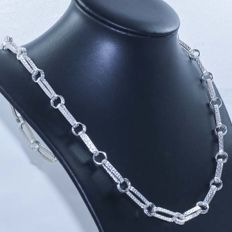 Necklace in 925/1000 silver with Italian grecca design -- Length: 60 cm