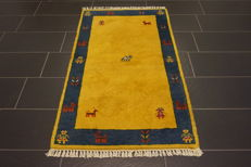 Hand-knotted carpet, Gabbeh fields, nomads' work, wool on wool, made in India, 93 x 163 cm, like new