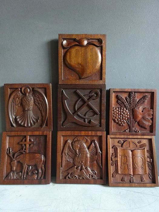 Lot of hand carved religious hardwood relief carvings france