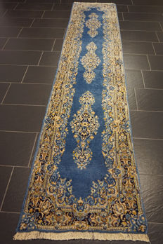 Exclusive hand-knotted Persian Palace carpet old flowers Laver Kerman runner 72 x 345cm Tapiz Tappeto carpet