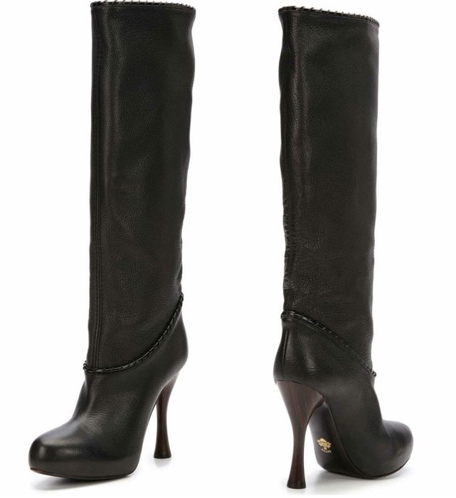 Bally High Heeled Black Leather Boots With Wooden Heel And Hidden Platform New Catawiki