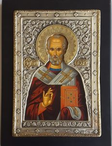 925 silver Icon of St.Nicholas, ***No Reserve***