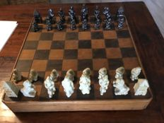 Special German chess set from the second world war in wooden storage box