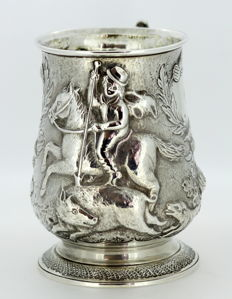 Antique Victorian Solid Sterling Silver Tankard, Charles Thomas Fox & George Fox, London 1846