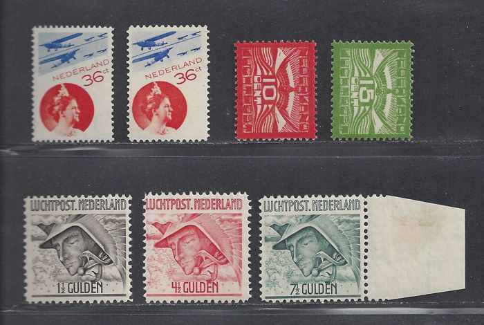 The Netherlands 1921/1931 - Air law, aviation and postage due - NVPH LP1/LP2, LP6/LP8, LP9A, LP9B, P68a and P65/P68 in blocks of four