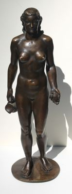 Wolfgang Wallner (1884-1964) - Standing nude with jug and apple - patinated bronze sculpture