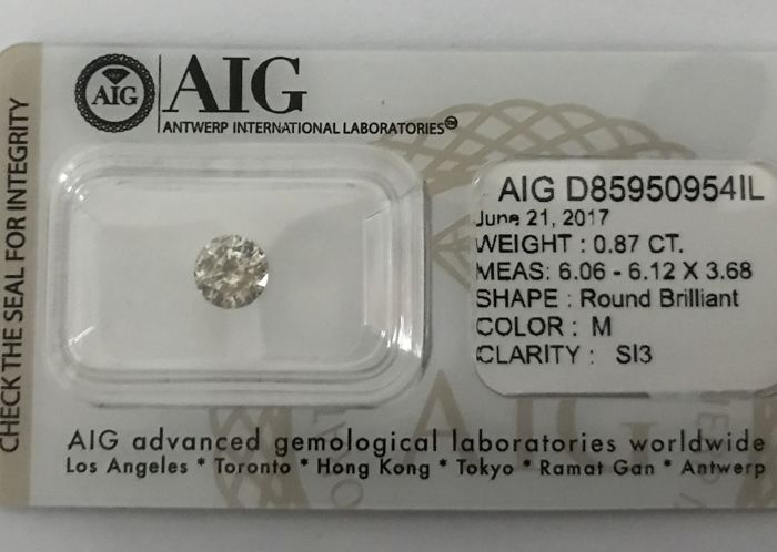 0.77ct Round Brilliant-Cut  Diamond Natural  color Fancy Champagne Si3+++Low Reserve Price +++