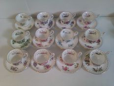 Royal Albert porcelain, 24 cups and saucers, 'Flower of the Month' series, miniature