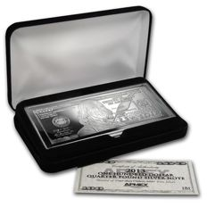 4 oz Silver bar - year 2013 $100 Bill (W/Box & COA)