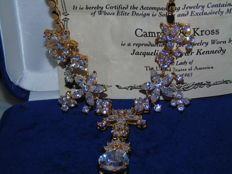 Rare, chic Jacqueline Bouvier Kennedy gold-plated, simulated diamond necklace by Camrose & Kross
