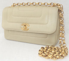 Chanel - Timeless Golden Sand Satin Single Flap CC Turn Lock Hand Bag