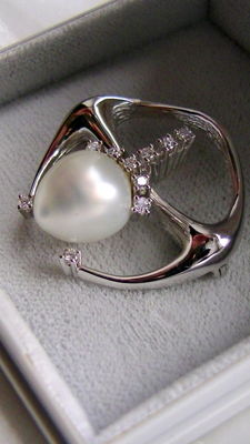 Pearls brilliant brooch 585 white gold - 0.30ct - handmade