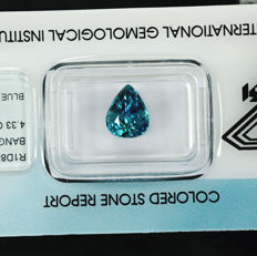 Blue Zirkon - 4.33 ct