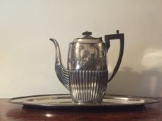 Silver plated coffeepot with classic rib, Bakelite Sheffield England & silver plated tray.