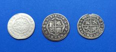 Spain - Lot of three coins of 2 reales of Felipe V - one of 1721 Cuenca JJ and two of 1718 one of Cuenca JJ and another of Segovia J