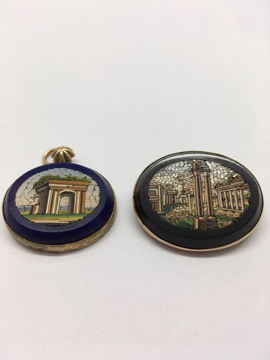 Antique brooch and micro-mosaic pendant, 9 kt gold