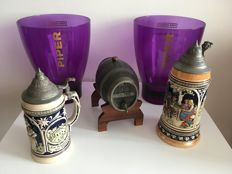 "Five objects with the theme ""drink"" - two earthenware beer mugs, pewter liqueur barrel and a few champagne coolers - Germany and France - 20th century"