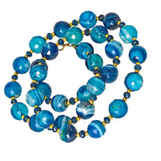 Blue Dragon scale agate and Indicolite necklace – Length 53 cm, 18kt/750 yellow gold clasp