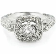 14 kt white gold ring with 0.55 ct of diamonds in total.