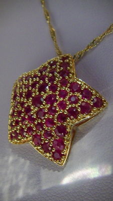 Necklace with large ruby star pendant, 585 gold