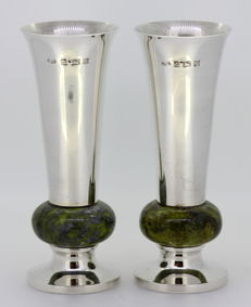 Vintage solid silver pair of vases with malachite band - Albert Edward Jones - Birmingham - 1972