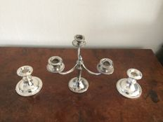 Silver plated candle holder 3-arms and 2 candle holders with 1 arm