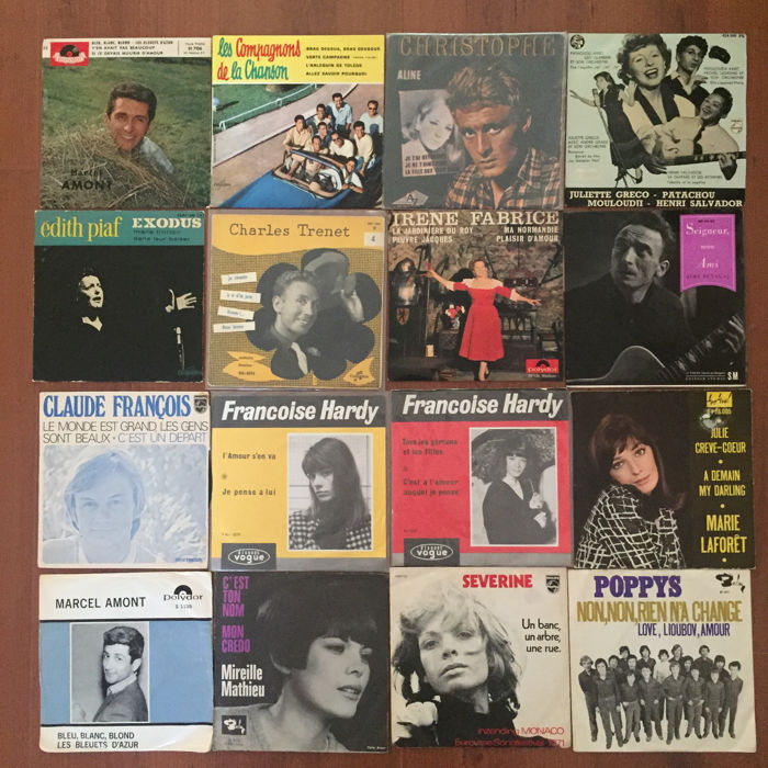 French chansons - lot with 8 EP's and 12 singles - Marcel Amont, Gilbert Becaud, Christophe, Francoise Hardy, Edith Piaf, Charles Trenet and others (1956/1971)