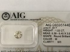 1.02ct Round Brilliant-Cut  Diamond Natural  color M Si3+++Low   Reserve Price +++