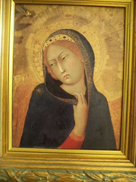 Icon Renaissance Style Print On Wood Spain Period 20th