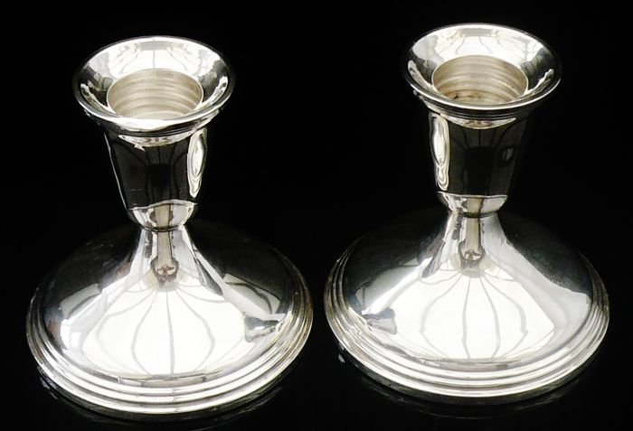 Pair of 20th Century Silver Candlesticks
