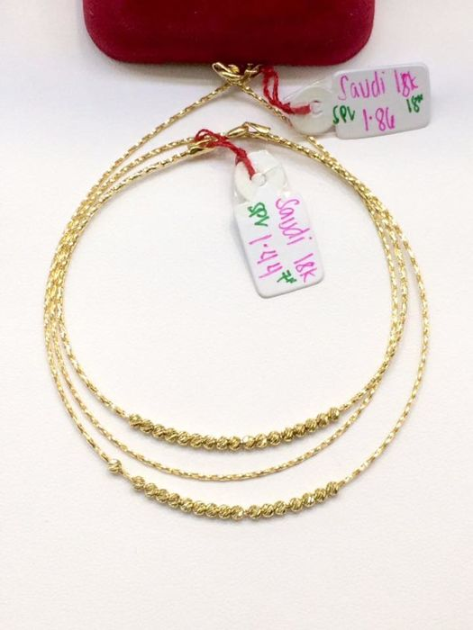 18k Gold Set of Bracelet and Necklace with Gold Beads Adornment - 7 and 18 inches