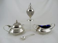 4-part Cruet set, pepper, salt, and mustard set, with blue glass insert and spoon, England, ca 1900