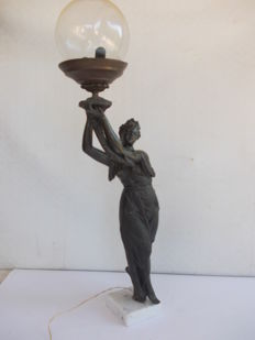 Bronze plated sculpture of Tyche, goddess of fortune and prosperity, with cornucopia and a 1-light glass ball - Italy, 20th century