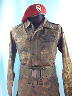 Germany - Bundeswehr Camouflaged Uniform - Jacket, Air Defense Barret and Belt