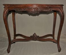 wood and glass console, early 1900s