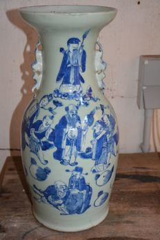 Very fine quality Celadon blue white vase - China - late 19th century