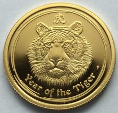 Australia - 25 dollars 2010 'Year of the Tiger' – 1/4 oz gold