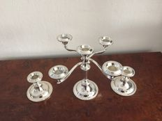 Silver plated candle holder 5-arms and 2 candle holders with 1 arm..