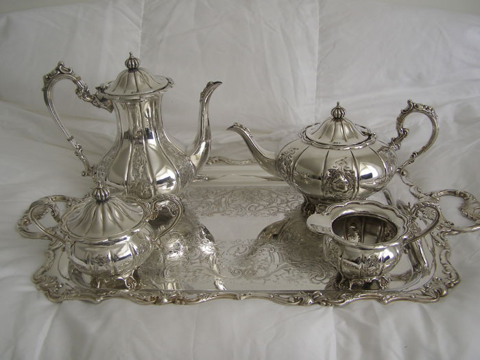 Cavalier hand chassed silver plated and copper teacoffee set &tray made in england.