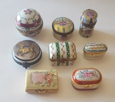 RARE Lot 8 Porcelain Limoges miniature Trinket Box Hand Painted