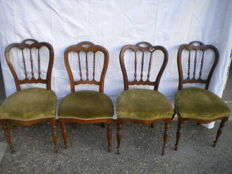Four walnut wood chairs, Italy, 19th century