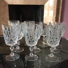 Lot of 10 glasses for wine/water in fine crystal